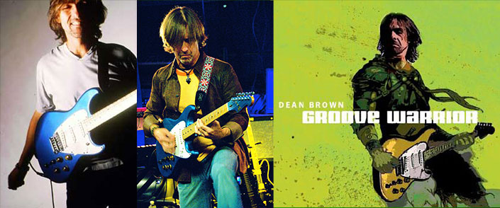 Two Images of Dean Brown in Performance + Cover for the album Groove Warrior